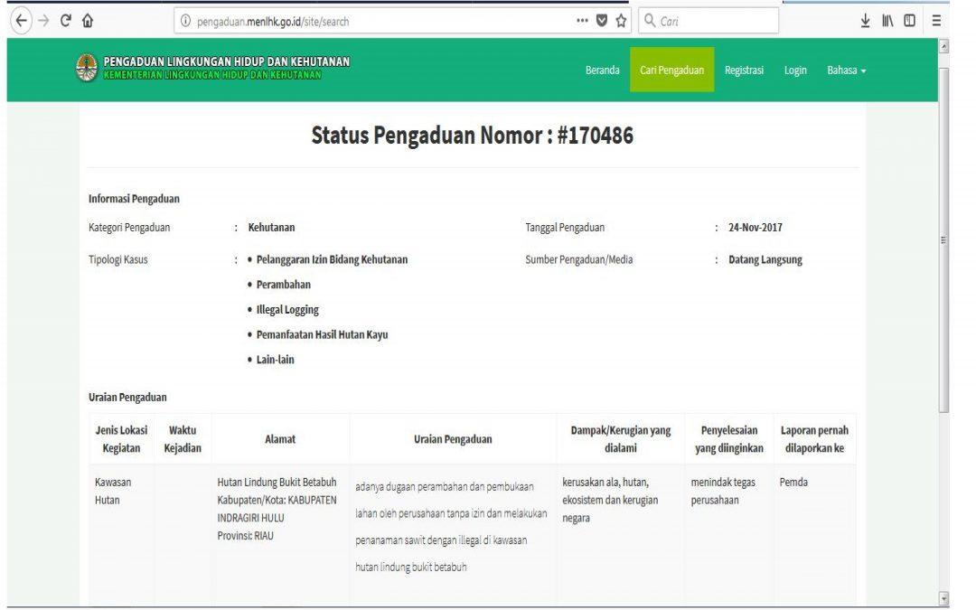 LBH Pekanbaru Laporkan PT. Runggu Prima Jaya ke Kementrian Lingkungan Hidup dan Kehutanan RI