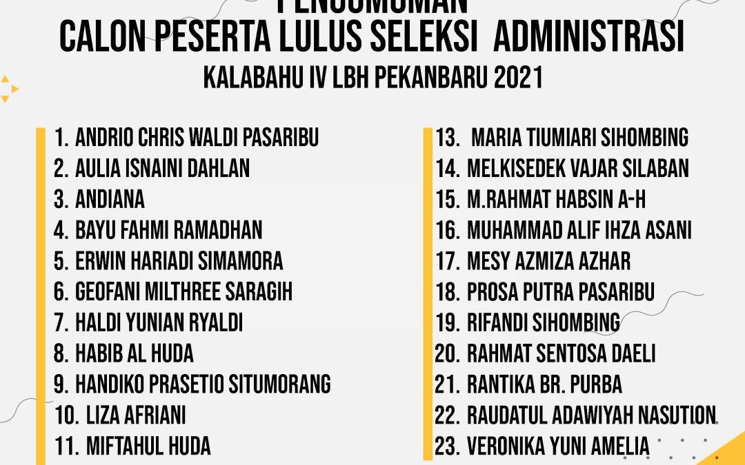 PENGUMUMAN KELULUSAN SELEKSI ADMINISTRASI KALABAHU IV LBH PEKANBARU 2021